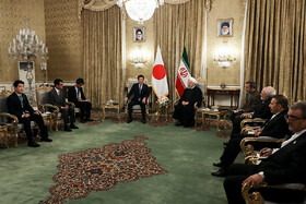 Meeting between Iranian President Hassan Rouhani and Japanese Prime Minister Shinzo Abe, Tehran, Iran, June 12, 2019.