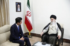 Meeting between Iran's Supreme Leader Ayatollah Ali Khamenei (R) and Japanese Prime Minister Shinzo Abe, Tehran, Iran, June 13, 2019.