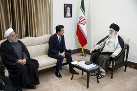 Meeting between Iran's Supreme Leader Ayatollah Ali Khamenei (R) and Japanese Prime Minister Shinzo Abe (M) in the presence of Iranian President Hassan Rouhani (L), Tehran, Iran, June 13, 2019.