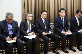 Top Japanese and Iranian officials are seen during the meeting between Iran's Supreme Leader Ayatollah Ali Khamenei and Japanese Prime Minister Shinzo Abe, Tehran, Iran, June 13, 2019.
