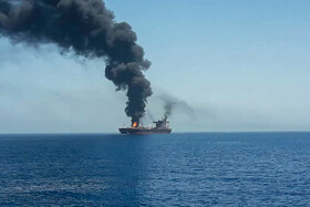 An oil tanker catches fire in a suspected attack, Gulf of Oman, June 13, 2019.