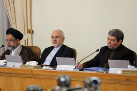 Iran's Minister of Intelligence Mahmoud Alavi (L) and Iranian Foreign Minister Mohammad Javad Zarif (M) are present at Iran's weekly cabinet session, Tehran, Iran, June 19, 2019.