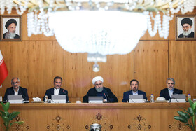 """Iran's weekly cabinet session, Tehran, Iran, June 19, 2019. Speaking in a cabinet session on Wednesday, Dr Hassan Rouhani said, """"The United States' actions against the Iranian nation is not sanction, but economic terrorism and crime against humanity""""."""