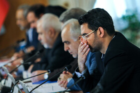 """Iranian Minister of Information and Communications Technology Mohammad Javad Azari Jahromi (R) is present at Iran's weekly cabinet session, Tehran, Iran, June 19, 2019. Speaking in a cabinet session on Wednesday, Dr Hassan Rouhani said, """"The United States' actions against the Iranian nation is not sanction, but economic terrorism and crime against humanity""""."""