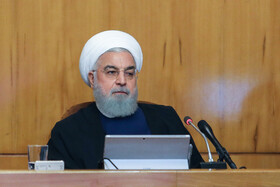 """Iranian President Hassan Rouhani is present at Iran's weekly cabinet session, Tehran, Iran, June 19, 2019. Speaking in a cabinet session on Wednesday, Dr Hassan Rouhani said, """"The United States' actions against the Iranian nation is not sanction, but economic terrorism and crime against humanity""""."""