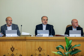 """Iranian Minister of Youth Affairs and Sports Masoud Soltanifar (M) and Iran's Oil Minister Bijan Zanganeh (R) are present at Iran's weekly cabinet session, Tehran, Iran, June 19, 2019. Speaking in a cabinet session on Wednesday, Dr Hassan Rouhani said, """"The United States' actions against the Iranian nation is not sanction, but economic terrorism and crime against humanity""""."""