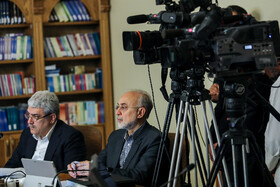 """Head of Iran's Atomic Energy Organization Ali Akbar Salehi (R) and Vice-President for Science and Technology Sorena Sattari are present at Iran's weekly cabinet session, Tehran, Iran, June 19, 2019. Speaking in a cabinet session on Wednesday, Dr Hassan Rouhani said, """"The United States' actions against the Iranian nation is not sanction, but economic terrorism and crime against humanity""""."""