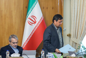 """Head of Iran's Planning and Budget Organization Mohammad Baqer Nobakht (L) is present at Iran's weekly cabinet session, Tehran, Iran, June 19, 2019. Speaking in a cabinet session on Wednesday, Dr Hassan Rouhani said, """"The United States' actions against the Iranian nation is not sanction, but economic terrorism and crime against humanity""""."""