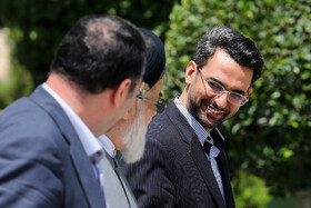 """Iranian Minister of Information and Communications Technology Mohammad Javad Azari Jahromi (R) is seen on the sidelines of Iran's weekly cabinet session, Tehran, Iran, June 19, 2019. Speaking in a cabinet session on Wednesday, Dr Hassan Rouhani said, """"The United States' actions against the Iranian nation is not sanction, but economic terrorism and crime against humanity""""."""