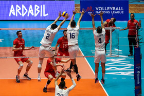 Volleyball match between Iran and Portugal, Ardebil, Iran, June 21, 2019.