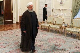 Iranian President Hassan Rouhani is seen in his meeting with President of Inter-Parliamentary Union Gabriella Cuebas Barron (not pictured) in Tehran, Iran, June 23, 2019.