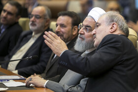 """Iranian President Hassan Rouhani (2nd, R) is seen in his meeting with top officials working under Ministry of Health and Medical Education including Iranian Minister of Health and Medical Education Saeed Namaki (R), Tehran, Iran, June 25, 2019. During this meeting President Hassan Rouhani said, """"All doctors, nurses and health centres have had a role in the big project of Healthcare Reform Plan""""."""