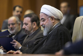 """Iranian President Hassan Rouhani is seen in his meeting with top officials working under Ministry of Health and Medical Education including Iranian Minister of Health and Medical Education Saeed Namaki, Tehran, Iran, June 25, 2019. During this meeting President Hassan Rouhani said, """"All doctors, nurses and health centres have had a role in the big project of Healthcare Reform Plan""""."""
