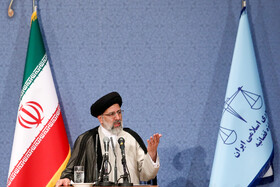 """Iran's Judiciary Chief Ebrahim Raeisi delivers a speech at the national conference of Iran's Judiciary, Tehran, Iran, June 25, 2019. Speaking on Tuesday morning at the national conference of Iran's Judiciary, Judiciary Chief Ebrahim Raeisi said, """"We appreciate the valuable services of all individuals who put in effort in Iran's Judicial system during the 40-year history of Islamic Republic of Iran""""."""