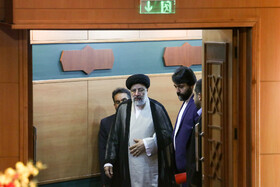 """Iran's Judiciary Chief Ebrahim Raeisi is seen on the sidelines of the national conference of Iran's Judiciary, Tehran, Iran, June 25, 2019. Speaking on Tuesday morning at the national conference of Iran's Judiciary, Judiciary Chief Ebrahim Raeisi said, """"We appreciate the valuable services of all individuals who put in effort in Iran's Judicial system during the 40-year history of Islamic Republic of Iran""""."""