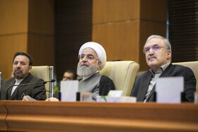 Iranian President Hassan Rouhani (M) is seen in his meeting with top officials working under Ministry of Health and Medical Education including Iranian Minister of Health and Medical Education Saeed Namaki (R), Tehran, Iran, June 25, 2019.