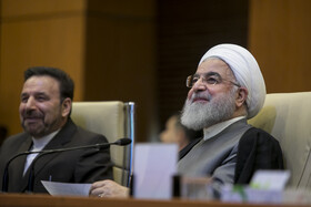 """Iranian President Hassan Rouhani (R) is seen in his meeting with top officials working under Ministry of Health and Medical Education including Iranian Minister of Health and Medical Education Saeed Namaki, Tehran, Iran, June 25, 2019. During this meeting President Hassan Rouhani said, """"All doctors, nurses and health centres have had a role in the big project of Healthcare Reform Plan""""."""