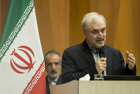 Iranian Minister of Health and Medical Education Saeed Namaki delivers a speech in the meeting between Iranian President Hassan Rouhani and top officials working under Ministry of Health and Medical Education, Tehran, Iran, June 25, 2019.