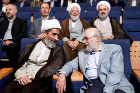 """Iranian politician Mohammad Javad Larijani (R) is present at the national conference of Iran's Judiciary, Tehran, Iran, June 25, 2019. Speaking on Tuesday morning at the national conference of Iran's Judiciary, Judiciary Chief Ebrahim Raeisi said, """"We appreciate the valuable services of all individuals who put in effort in Iran's Judicial system during the 40-year history of Islamic Republic of Iran""""."""