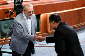 """Iran's Justice Minister Alireza Avayi (R) and Iranian politician Mohammad Javad Larijani are present at the national conference of Iran's Judiciary, Tehran, Iran, June 25, 2019. Speaking on Tuesday morning at the national conference of Iran's Judiciary, Judiciary Chief Ebrahim Raeisi said, """"We appreciate the valuable services of all individuals who put in effort in Iran's Judicial system during the 40-year history of Islamic Republic of Iran""""."""