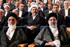 """Iran's Judiciary Chief Ebrahim Raeisi (R) is present at the national conference of Iran's Judiciary, Tehran, Iran, June 25, 2019. Speaking on Tuesday morning at the national conference of Iran's Judiciary, Judiciary Chief Ebrahim Raeisi said, """"We appreciate the valuable services of all individuals who put in effort in Iran's Judicial system during the 40-year history of Islamic Republic of Iran""""."""