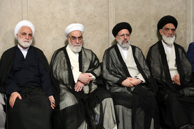 Iran's Judiciary Chief Ebrahim Raeisi (2nd, R) and Iran's Judiciary Spokesman Gholamhossein Mohseni-Ezhei (L) are present in the meeting between Iran's Supreme Leader Ayatollah Ali Khamenei and top officials of Iran's Judiciary, Tehran, Iran, June 26, 2019.