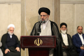 Iran's Judiciary Chief Ebrahim Raeisi delivers a speech in the meeting between Iran's Supreme Leader Ayatollah Ali Khamenei and top officials of Iran's Judiciary, Tehran, Iran, June 26, 2019.