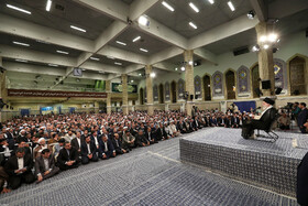 Iran's Supreme Leader Ayatollah Ali Khamenei delivers a speech in his meeting with Iran's Judiciary Chief Ebrahim Raeisi, top officials and a number of judges and employees of Iran's Judiciary, Tehran, Iran, June 26, 2019.