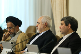 """Iranian Foreign Minister Mohammad Javad Zarif (M) and Iran's Intelligence Minister Mahmoud Alavi (L) are present at Iran's weekly cabinet session, Tehran, Iran, June 26, 2019. Speaking on Wednesday at Iran's weekly cabinet session, Mr Rouhani congratulated national week of Iran's Judiciary and said, """"The way to reach security, freedom, welfare and Iran's honour is following the path of Islam, Imam Ali (PBUH), Imam Khomeini and Doctor Beheshti and all of us should put in extra effort for serving people""""."""