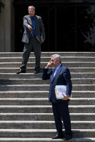 """Iran's Energy Minister Reza Ardakanian (R) is seen on the sidelines of Iran's weekly cabinet session, Tehran, Iran, June 26, 2019. Speaking on Wednesday at Iran's weekly cabinet session, Mr Rouhani congratulated national week of Iran's Judiciary and said, """"The way to reach security, freedom, welfare and Iran's honour is following the path of Islam, Imam Ali (PBUH), Imam Khomeini and Doctor Beheshti and all of us should put in extra effort for serving people""""."""