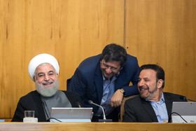 """Iranian President Hassan Rouhnai (L) and Iranian President's Chief of Staff Mahmoud Vaezi (R) are present at Iran's weekly cabinet session, Tehran, Iran, June 26, 2019. Speaking on Wednesday at Iran's weekly cabinet session, Mr Rouhani congratulated national week of Iran's Judiciary and said, """"The way to reach security, freedom, welfare and Iran's honour is following the path of Islam, Imam Ali (PBUH), Imam Khomeini and Doctor Beheshti and all of us should put in extra effort for serving people""""."""