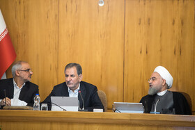 """Iranian President Hassan Rouhnai (R) and Iranian First-Vice President Es'haq Jahangiri (M) are present at Iran's weekly cabinet session, Tehran, Iran, June 26, 2019. Speaking on Wednesday at Iran's weekly cabinet session, Mr Rouhani congratulated national week of Iran's Judiciary and said, """"The way to reach security, freedom, welfare and Iran's honour is following the path of Islam, Imam Ali (PBUH), Imam Khomeini and Doctor Beheshti and all of us should put in extra effort for serving people""""."""