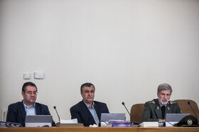 """Iran's Defense Minister Brigadier General Amir Hatami (R) is present at Iran's weekly cabinet session, Tehran, Iran, June 26, 2019. Speaking on Wednesday at Iran's weekly cabinet session, Mr Rouhani congratulated national week of Iran's Judiciary and said, """"The way to reach security, freedom, welfare and Iran's honour is following the path of Islam, Imam Ali (PBUH), Imam Khomeini and Doctor Beheshti and all of us should put in extra effort for serving people""""."""