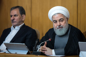 """Iranian President Hassan Rouhnai (R) and Iran's First-Vice President Es'haq Jahangiri are present at Iran's weekly cabinet session, Tehran, Iran, June 26, 2019. Speaking on Wednesday at Iran's weekly cabinet session, Mr Rouhani congratulated national week of Iran's Judiciary and said, """"The way to reach security, freedom, welfare and Iran's honour is following the path of Islam, Imam Ali (PBUH), Imam Khomeini and Doctor Beheshti and all of us should put in extra effort for serving people""""."""