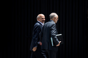 """Head of Iran's Atomic Energy Organization Ali Akbar Salehi (R) is seen on the sidelines of Iran's weekly cabinet session, Tehran, Iran, June 26, 2019. Speaking on Wednesday at Iran's weekly cabinet session, Mr Rouhani congratulated national week of Iran's Judiciary and said, """"The way to reach security, freedom, welfare and Iran's honour is following the path of Islam, Imam Ali (PBUH), Imam Khomeini and Doctor Beheshti and all of us should put in extra effort for serving people""""."""