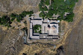 Aerial photo of Saint Stepanos Monastery located in Jolfa County, East Azerbaijan, June 30, 2019.
