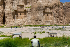 Tombs of Achaemenid kings are seen in the photo, Fars, Iran, July 2, 2019.
