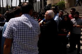 Iranian Foreign Minister Mohammad Javad Zarif answers the questions of correspondents on the sidelines of Iran's weekly cabinet session, Tehran, Iran, July 3, 2019.