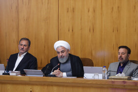 Iranian President Hassan Rouhani (M), Iranian First-Vice President Es'haq Jahangiri (L) and Iranian President's Chief of Staff Mahmoud Vaezi are present in Iran's weekly cabinet session, Tehran, Iran, July 3, 2019.