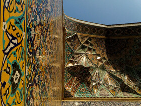 "The arts of ""Qashani"", ""Āina-kāri"", ""Muqarnas"" and ""plasterwork"" can be seen in Imam Reza Holy Shrine, Mashhad, Iran, July 6, 2019.