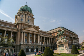 Historical Buda Castle is seen in the photo, Budapest, Hungary, July 7, 2019. Buda Castle is the historical castle and palace complex of the Hungarian kings in Budapest.