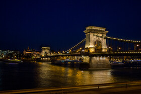 Széchenyi Chain Bridge is seen in the photo, Budapest, Hungary, July 7, 2019. It is a suspension bridge that spans the River Danube between Buda and Pest, the western and eastern sides of Budapest.