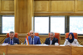 Iraqi Deputy Interior Minister Mohammad Badr (2nd, L) and his delegation are seen in the meeting with Iranian Interior Minister Abdolreza Rahmani Fazli, Tehran, Iran, July 8, 2019. During the meeting, the two Iranian and Iraqi officials signed a memorandum of understanding.