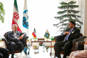 Meeting between Iran's Minister of Science, Research and Technology Mansour Gholami (L) and Pakistan's Science and Technology Minister Fawad Chaudhry, Isfahan, Iran, July 9, 2019.