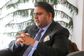 Pakistan's Science and Technology Minister Fawad Chaudhry is seen in his meeting with Iran's Minister of Science, Research and Technology Mansour Gholami, Isfahan, Iran, July 9, 2019.