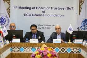 Iran's Minister of Science, Research and Technology Mansour Gholami (R) and Pakistan's Science and Technology Minister Fawad Chaudhry (M) are present in the 4th meeting of Board of Trustees members of the Economic Cooperation Organization Science Foundation, Isfahan, Iran, July 9, 2019.