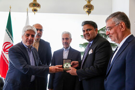 On the sidelines of the meeting between Iran's Minister of Science, Research and Technology Mansour Gholami and Pakistan's Science and Technology Minister Fawad Chaudhry, Isfahan, Iran, July 9, 2019.