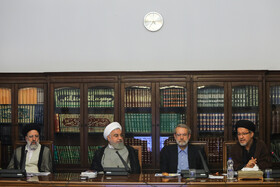 Iran's Judiciary Chief Ebrahim Raeisi (L), Iranian President Hassan Rouhani (M) and Iranian Parliament Speaker Ali Larijani (2nd, R) are present in the session of Supreme Council of Cultural Revolution, Tehran, Iran, July 9, 2019.