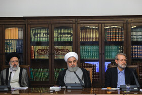 Iran's Judiciary Chief Ebrahim Raeisi (L), Iranian President Hassan Rouhani (M) and Iranian Parliament Speaker Ali Larijani are present in the session of Supreme Council of Cultural Revolution, Tehran, Iran, July 9, 2019.