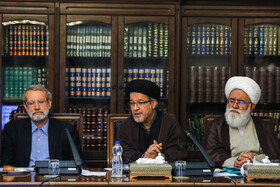 Iranian Parliament Speaker Ali Larijani (L) is present in the Session of Supreme Council of Cultural Revolution, Tehran, Iran, July 9, 2019.